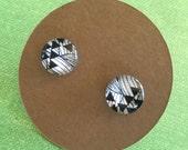 Titanium Earrings, black and white, geometric