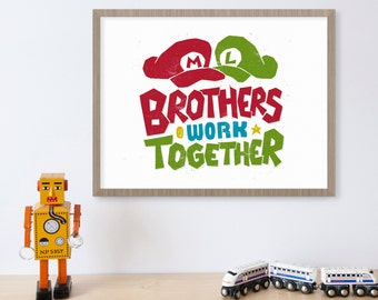 Super Mario Brothers, Video Game Art, Nintendo, Brothers Wall Art, Gamer Gifts, Video Game Decor, Luigi, Boy Room Decor, Kids Wall Art