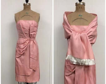 SALE 1950s Pink Party Dress 50s Shawl