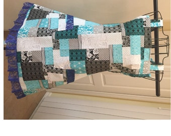 Patchwork with Lace Full Bib Apron