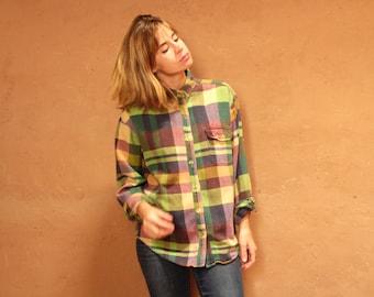 90s nirvana GRUNGE plaid FLANNEL oversized shirt