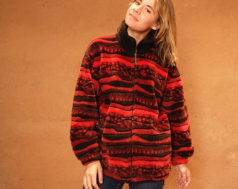COOGI fleece style RED 90s GRUNGE thick knit nordic sweater