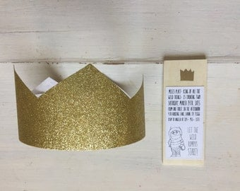 Where the Wild Things Are- Glitter GOLD PARTY CROWNS- (Quantity 10)