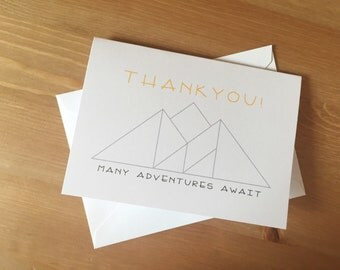 Adventure/ Mountain THANK YOU CARDS (quantity 10 cards and envelopes)