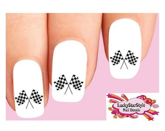 Waterslide Nail Decals Set of 20 - Checkered Car Racing Flags