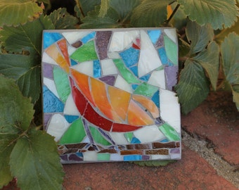 Outdoor mosaic art - Bird watching from branch