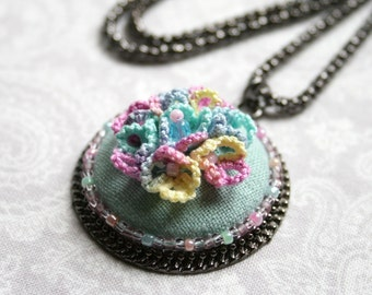 Blue Flower Tatting Lace Beaded Pendant
