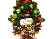 Snowman Winter Wreath Door Wreath Swag Indoor Outdoor Christmas Holiday Diamond Wreath XL Red White Black Lime Green Shatterproof Ornaments