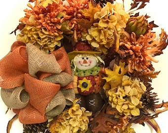 "Scarecrow  Wreath Fall Halloween Wreath Silk Floral Grapevine Rust Gold Orange Brown Approx. 24"" INDOOR OUTDOOR WREATH w/ Burlap Bow"
