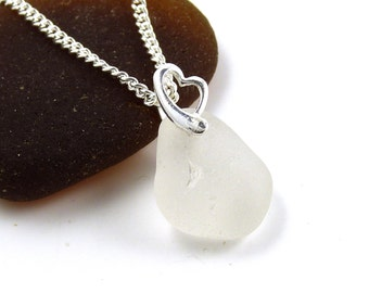 White Sea Glass Necklace Sterling Silver Heart and Chain LEIA