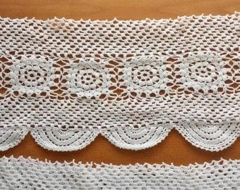 "Beautiful White Crocheted Trim, 64 x 80 inches, 6"" wide edges, Intact Rectangular Trim"