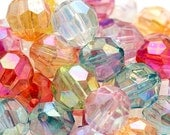 50 AB Clear Faceted Beads 12mm Chunky Beads Aurora Borealis Rainbow Iridescent Transparent H96