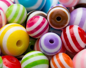 1 lb Clearance Striped Beads 6mm - 12mm Mix CL-ST9SMIX0025x4
