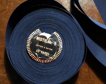 "1940's French Navy Grosgrain Ribbon - 1 1/2"" Wide , Hat Ribbon , Couture Belting  with Saw Tooth Edge  -  Sold Per Yard"