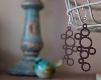 Laser Cut Earrings, Brown Earrings - Laser Cut Earrings - Circle Earrings - Lightweight Earrings - Dangle Earrings - Gift for Mom -