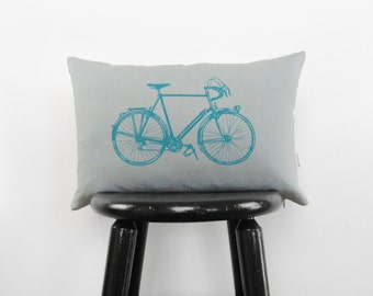 12x18 vintage bicycle lumbar pillow cover | Gray and turquoise decorative throw pillow case, cushion | Modern home decor, Industrial Accent