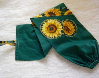 GROCERY BAG HOLDER Plastic Bag Dispenser Sunflowers Appliqué