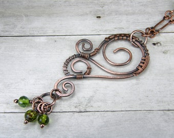 Hammered Copper Wire Wrapped Necklace with Green Glass Beads