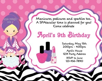 Spa Party Invitation//SPAtacular Birthday Party//Zebra Print//Pink Purple//Printable Digital File #4
