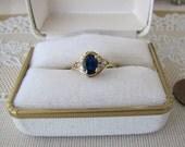 Beautiful 14K Gold Oval CZ Sapphire Ring, Size 7