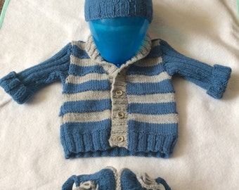 Baby boy hand knitted jacket, hat and sneaker set. Blue and grey 6-12 months