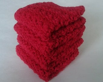 Cloth Pads Reusable, Crocheted Cotton Dishcloths, Washcloths, Set of 4- Red
