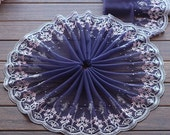 2 Yards Lace Trim Pink Floral Embroidered Dark Blue Tulle Lace 8.26 Inches Wide High Quality