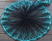 2 Yards Embroidered Lace Trim Cyan Rose Floral Embroidered Black Tulle Lace Trim 7.48 Inches Wide