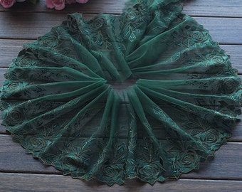 2 Yards Lace Trim Green Rose Flowers Embroidered Tulle Lace 7 Inches Wide High Quality