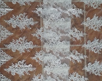 Fabulous Sequined Alencon Lace Trim Luxury Ivory Wedding Lace Embroidered Retro Tulle Lace 51 Inches Wide 1 Yard