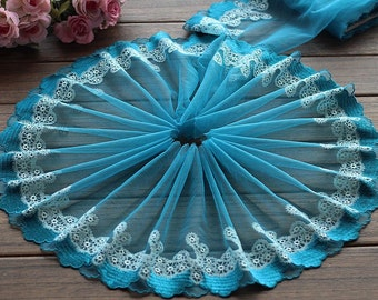 2 Yards Lace Trim Embroidered Lakeblue Tulle Lace Trim 7.48 Inches Wide High Quality
