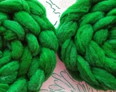 "4 oz Hand Dyed Romeldale / CVM Roving, ""Hulk,"" Shades of Green, Super Soft, Heritage Breed, Rare, Conservation Breed, Next to Skin Soft"