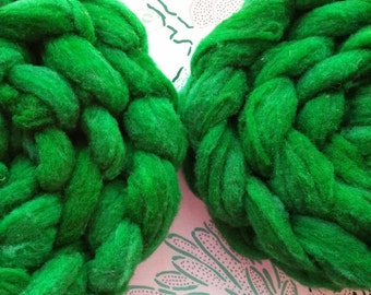 """4 oz Hand Dyed Romeldale / CVM Roving, """"Hulk,"""" Shades of Green, Super Soft, Heritage Breed, Rare, Conservation Breed, Next to Skin Soft"""