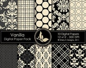 50% Off Vanilla Paper Pack - 10 Printable Scrapbooking Digital papers - 12 x12 - 300 DPI