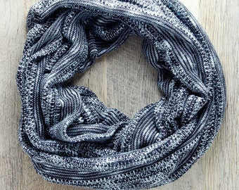 Black and White Striped Sweater Knit Infinity Scarf