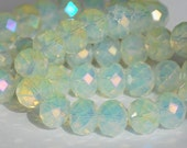 13 pcs 10x8mm Opalescent with Pale Yellow AB Luster Faceted Crystals