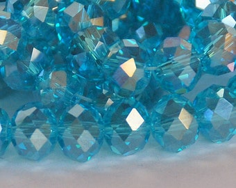 20 pcs 8x6mm Transparent Blue Topaz AB Color Rondelle Glass Beads TBT-1