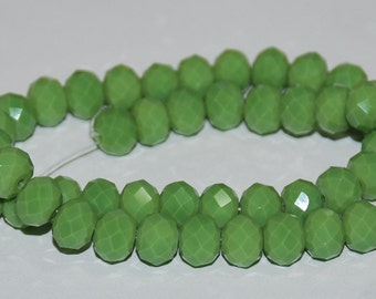 20 pcs 8x6mm Opaque Chartreuse  Lime Green Rondelle Glass Beads OCL-1