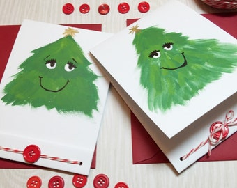Christmas Tree- Painted Holiday Card - Handmade Christmas Cards - Matchbook Style - Button Details - Eco Friendly -Cute -Funny