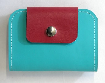 Rosie Upcycled Leather Wallet, Leather Billfold in Turquoise and Red