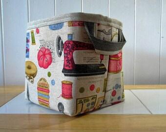Vintage sewing knitting print linen storage bin basket-small