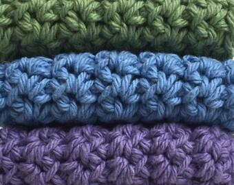 Crochet Dishcloths Washcloths - Set of 3 - For Kitchen, Bathroom, Baby - Sage Green, Blue, Purple - 100% Cotton