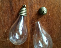 10 Lots  18x32mm  Transparent Glass Wishing Bottle/Bulb  Pendant  with Antiqued Bronze olor  Caps