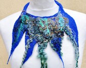 Felted necklace, collar, fibre art, gift, gray, mustard, blue, turquoise