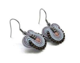 Peach Earrings Pastel Earrings Blue Drop Earrings Blue Dangle Earrings Small Drop Earrings Soutache Earrings Blue Earrings