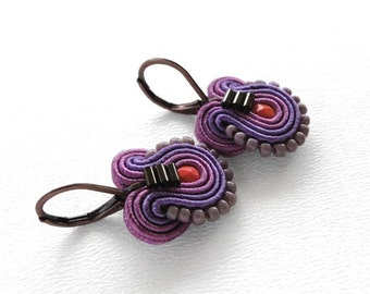 Purple Earrings Purple and Orange Earrings Purple Drop Earrings Small Drop Earrings Small Dangle Earrings Soutache Earrings Purple Dangle