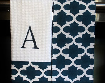 Monogram Kitchen Towels or Hand Towels in Dusty Navy Quatrefoil | Housewarming Gift | Hostess Gift | Gifts for Her | Wedding