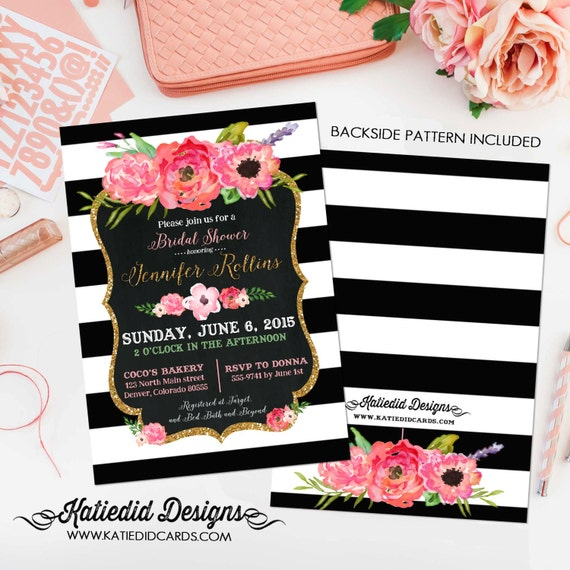 black and white stripe shower invitation | floral chic invite | I do BBQ engagement party | co-ed baby shower | bridal | 363 Katiedid Cards