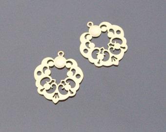 Matte Gold geometric Connectors, earring Pendants, 2 pc, KS615197