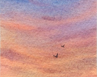 Original ACEO watercolor painting - Into the sunset